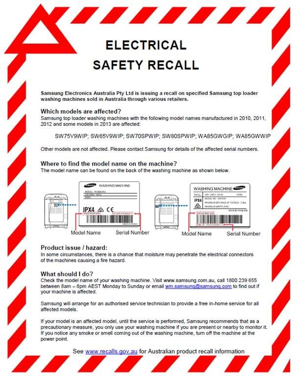 Samsung Top Load Washers Product Recall