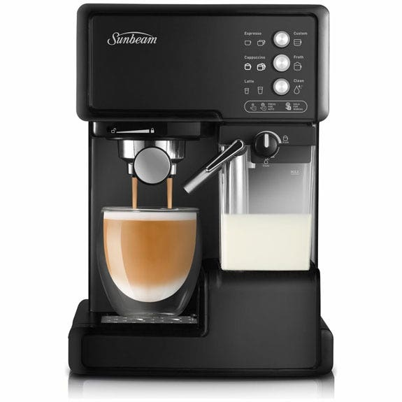 Sunbeam Cafe Barista Auto Coffee Machine  - Black Make exquisite coffee easily with the minimal effort, one touch Auto Coffee Machine from Sunbeam. Expertly froth milk inside the carafe and make your favourite brews with buttons for espresso, cappuccino and latte and use the knob to adjust foam density. Have cafe quality coffee in no time with this automatic coffee machine from Sunbeam.