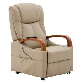 Elevate Lift Chair Almond Pu With Timber Arms