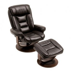 Equator Recliner With Ottoman Black, Chameleon, Leathaire