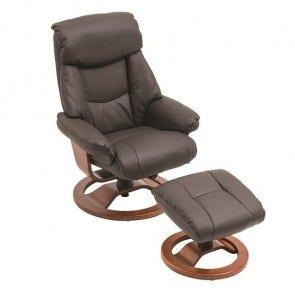 Grace Chair & Footstool Chocolate Pu & Timber