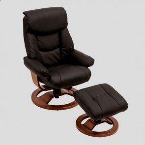Grace Chair & Footstool Black Pu And Timber
