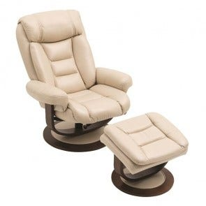 Equator Recliner With Ottoman Cream, Chameleon, Leathaire
