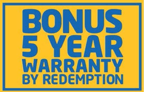 Bonus 5 year Warranty