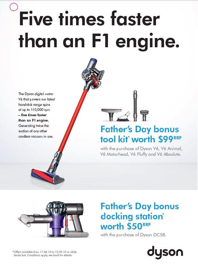 dyson father 39 s day promotion. Black Bedroom Furniture Sets. Home Design Ideas
